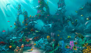 dolphin paradise under the sea painting with dolphins and tropical
