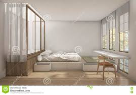 Japanese Style Bedroom 3d Rendering Japanese Style Bedroom With Minimal Decoration Stock