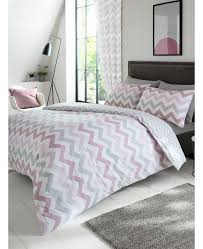 metro chevron zig zag double duvet cover and pillowcase set pink grey