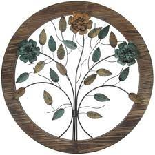 rustic blooming flowers wood wall decor