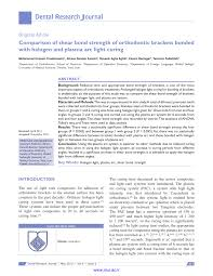 Plasma Curing Light Pdf Comparison Of Shear Bond Strength Of Orthodontic