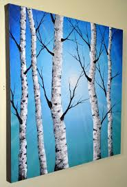 pretty painting idea beautiful blue sky and white birch trees birch paintings and acrylics