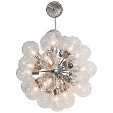 1950s sputnik glass globe chandelier in chrome by lightolier for