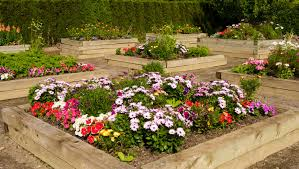 flower garden design. Here Is A Series Of Raised Garden Beds Made With Thick And Heavy Wood Beams To Flower Design N