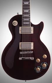 epiphone les paul tribute plus electric guitar with case black cherry straight front