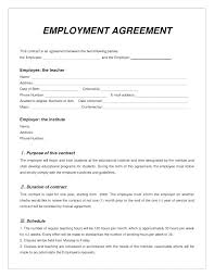Standard Employment Contract Beauteous At Will Employment Contract Template