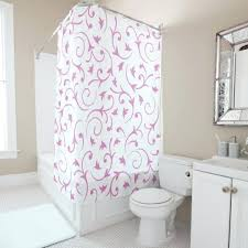 baroque design pink white shower curtain and polka dot