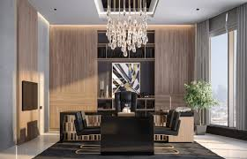 Modern design office Small Modern Luxury Ceo Office Interior Design 3 Black Executive Desk And Leather Upholstered Chairs Dwell Modern Luxury Ceo Office Interior Design Jeddah Saudi Arabia Cas