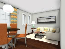 small living room layout with corner sofa and dining area