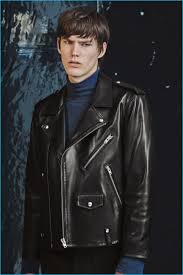 elias de poot embraces a cool image in a leather biker jacket and turtleneck from iro s