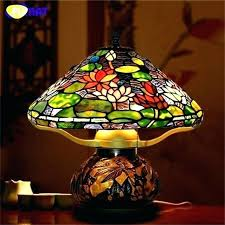 stained glass lamp shade leaded stain lamps art table style lotus hand made led be