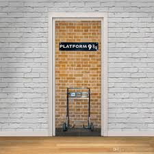 brick wall with white door frame wall stickers home decor platform 93 4 self adhesive wallpaper mural poster renovate door wall decals wall decor