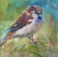 animal painting handmade livemaster handmade oil painting birds sparrow