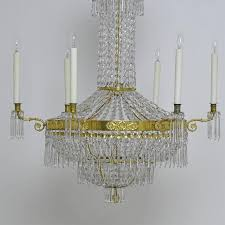 a fine 18th century or early 19th century antique gustavian or swedish empire crystal chandelier with