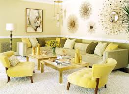 Monochromatic decorating living room contemporary with yellow flowers  sunburst mirror gold accents