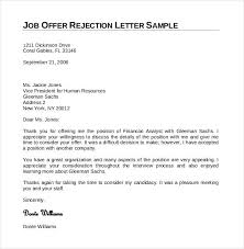 Job Offer Rejection Letter Sample Free Rejection Letter Sample Under Fontanacountryinn Com