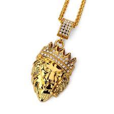 hip hop fashion gold chain king crown lion head pendant necklace for men cod