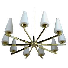 italian brass and frosted glass chandelier for