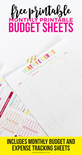 Easy Monthly Budget Budget Sheet Track Monthly Finances Using Free Printables