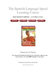 Pdf The Spanish Language Speed Learning Course Statement Of