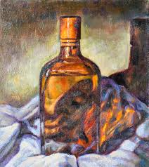 oil painting on canvas of a glass bottle stock ilration ilration of painting