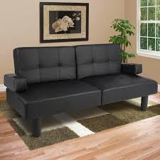 best choice s modern faux leather fold down convertible futon sofa bed w 2 cup