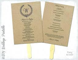 wedding program fans template fan by paddle diy