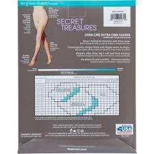 Secret Treasures Intimates Size Chart Secret Treasures Silky Sheer Pantyhose With Long Line