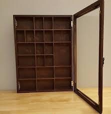 vintage wood curio display wall cabinet