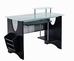 com stylish frosted glass top computer desk with storage color expresso kitchen dining