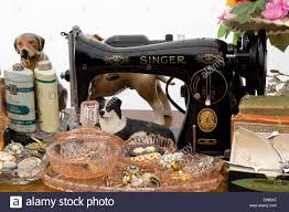 Vintage Singer Sewing Machine in a antique shop Stock Photo ...