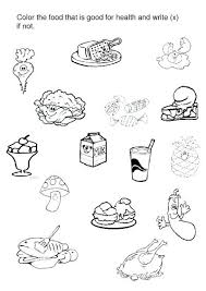 Painting Worksheets For Kindergarten Save Healthy And Unhealthy Food