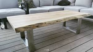 live edge maple coffee table with