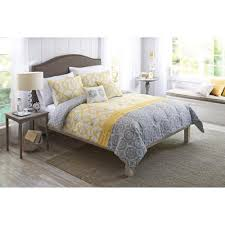 com queen size yellow and gray medallion comforter set 5 piece bedding shams decorative pillows home kitchen