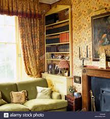 Living Room Country Curtains Floral Curtains And Pedimented Alcove Bookcase Behind Sofa Next To