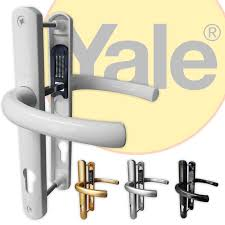 yale superior upvc door handle sprung lever set pair pz 92mm 215mm fixings