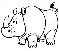 vector vector ilration of cartoon rhino coloring book