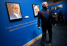 portraits by george w bush go on display the times former president george w bush tours his new exhibit the art of leadership