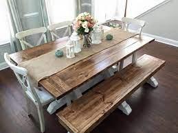 farmhouse table bench kitchen table