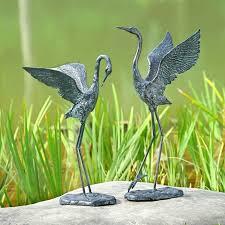 exalted crane pair garden sculpture