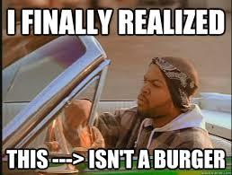 I finally realized this ---> isn't a burger - today was a good day ... via Relatably.com