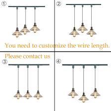 kiven h type 3 wire glass track light pendants length 4 9 feet restaurant chandelier decorative chandelier instant pendant light bulb not include industrial