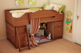 Loft Bed with Drawers Curtain
