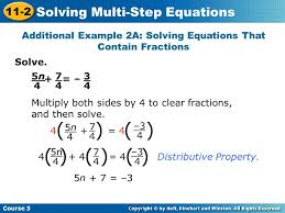 additional example 2a solving equations that contain fractions