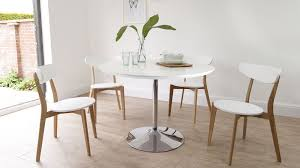 white gloss and oak chrome pedestal dining set
