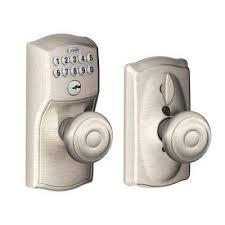 georgian satin nickel keypad electronic door with camelot trim featuring flex lock