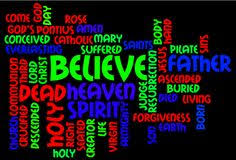 Image result for public domain image of Apostles Creed word cloud