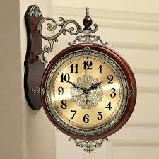 double sided wall clock hanging brown white living room metal wooden india