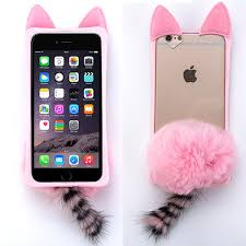 Light Pink Iphone 6 Plus Case Light Baby Pink Cat Bunny Tail Soft Fur Case For Apple Iphone 6 6s Plus