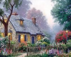 foxglove cottage thomas kinkade oil paintings